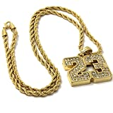 Mens Gold Iced Out #23 Basketball Pendant 30'' Rope Chain Hip Hop Necklace D796