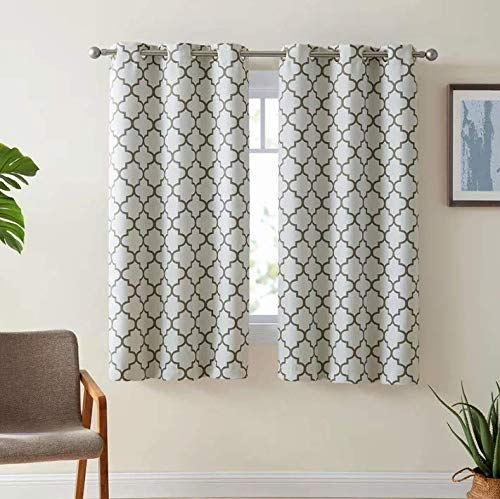 HLC.ME Lattice Print Thermal Insulated Room Darkening Blackout Window Curtain Panels for Bedroom - Set of 2-37