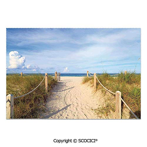 SCOCICI Set of 6 Printed Dinner Placemats Washable Fabric Placemats Golden Sandy Beach South Miami with Fences American Style Holiday Login Relax Image for Dining Room Kitchen Table Decoration