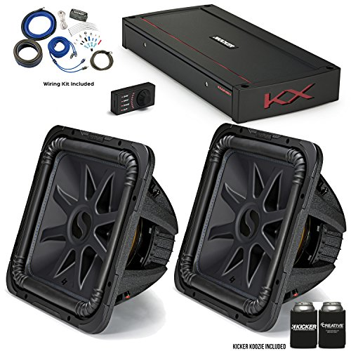 "Kicker 44L7S152 15"" Solo-Baric L7S Subwoofers with 44KXA24001 KX-Series Amplifier and Wire kit."
