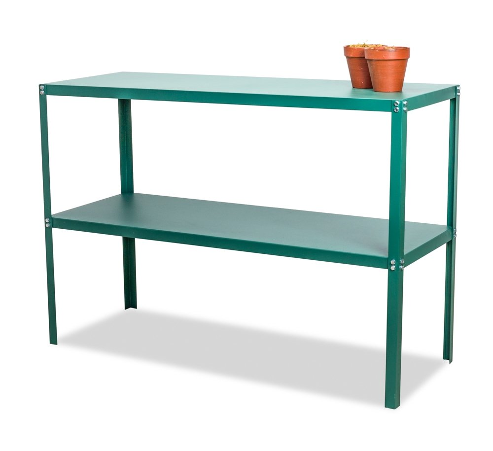 Lacewing Essential 2 Tier Greenhouse Staging Shelf Table in Green Primrose