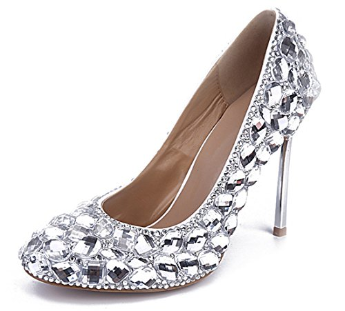 Shoes Drill Dress Toe Women's Leather Party Wedding Patent Glass Round Silver Stiletto TDA IPwpw