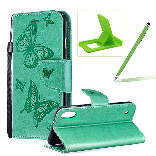 Strap Leather Case for Galaxy M10,Wallet Cover for Galaxy M10,Herzzer Elegant Green Butterfly Print Relief Magnetic Stand Case with Soft TPU