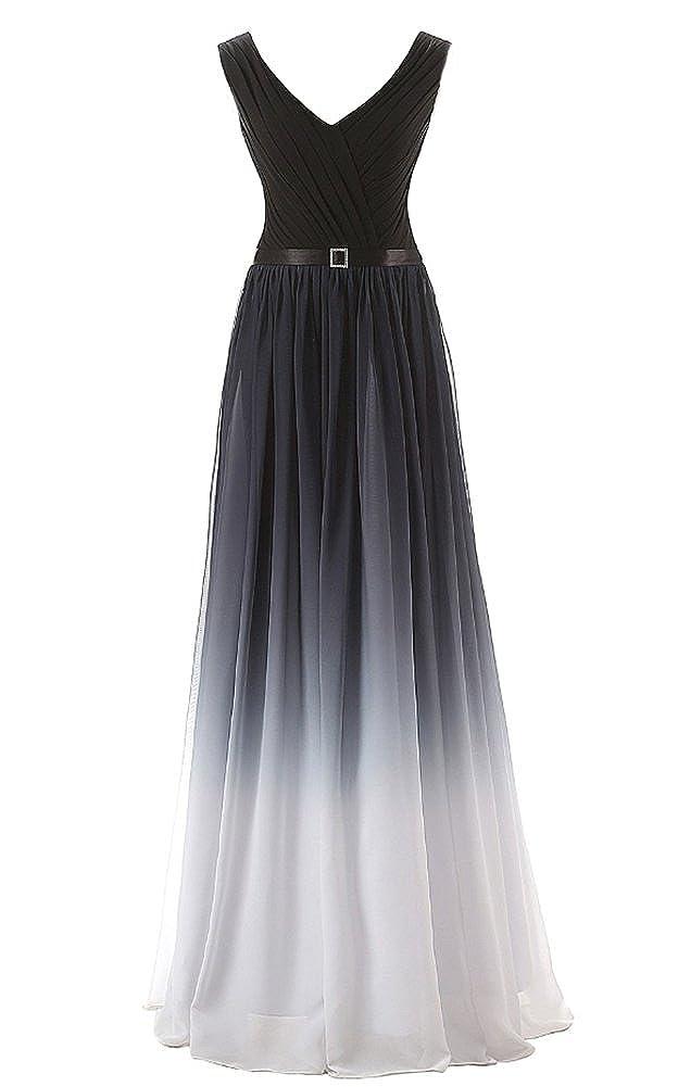 Dobelove Womens Strapless Trendy Gradient Color Chiffon Evening Dress