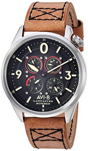 AVI-8 Men's ' Lancaster Bomber Quartz Stainless Steel and Leather Aviator Watch, Color:Brown (Model: AV-4050-01