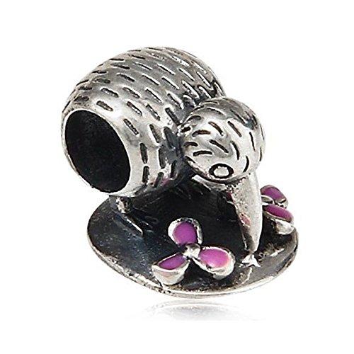 New Zealand Kiwi Bird Charm - Authentic 925 Sterling Silver&Enamel Beads - Fit on European Bracelets