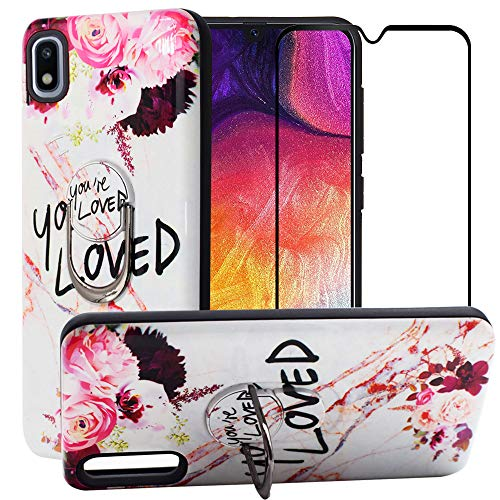 BestAlice for Samsung Galaxy A10E Case with Tempered Glass Screen Protector, Cartoon Hybrid Heavy Duty Protection Shockproof Defender Kickstand Armor Cute Cover, ()