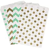 Gold and Mint Green Treat Sacks - Chevron Polka Dot Favor Bags - 5.5 x 7.5 Inches - 48 Pack