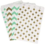 popcorn bags green - Gold and Mint Green Treat Sacks - Chevron Polka Dot Favor Bags - 5.5 x 7.5 Inches - 48 Pack