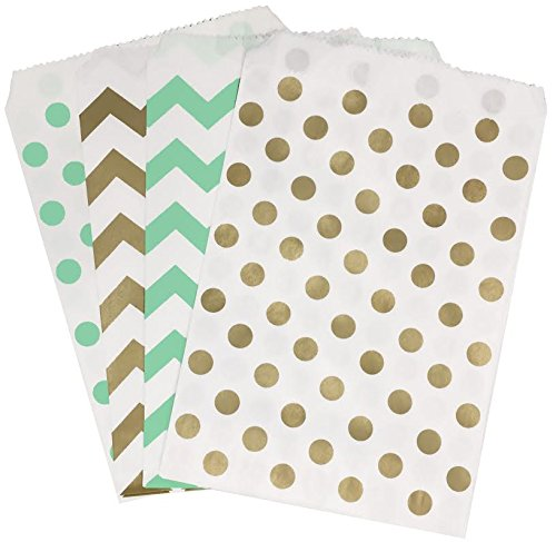 Outside the Box Papers Gold and Mint Chevron and Polka Dot Treat Sacks 5.5 x 7.5 48 Pack Mint Green,Gold, White