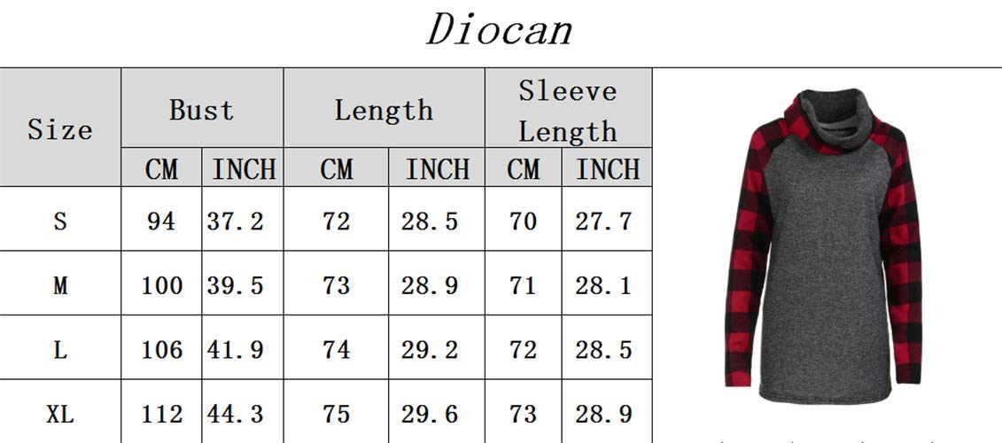 Women\'s Cowl Neck Sweatshirts Plaid Long Sleeve Casual Raglan Shirt Pullover