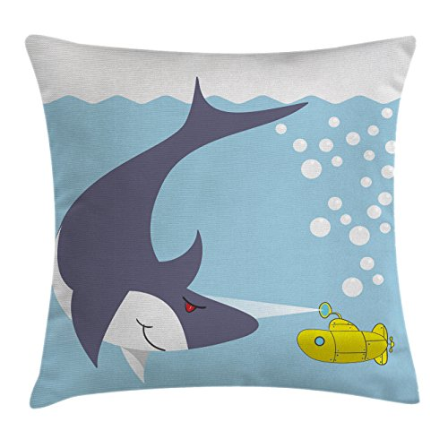 Bubble Chair Club (Ambesonne Yellow Submarine Throw Pillow Cushion Cover, Shark with Vessel in Ocean Bubbles Under Sea Theme Animals Cartoon, Decorative Square Accent Pillow Case, 24 X 24 Inches, Blue Gray Yellow)