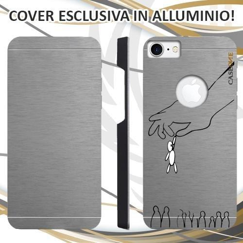 CUSTODIA COVER CASE CASEONE UOMO BIRILLO PER IPHONE 7 ALLUMINIO TRASPARENTE