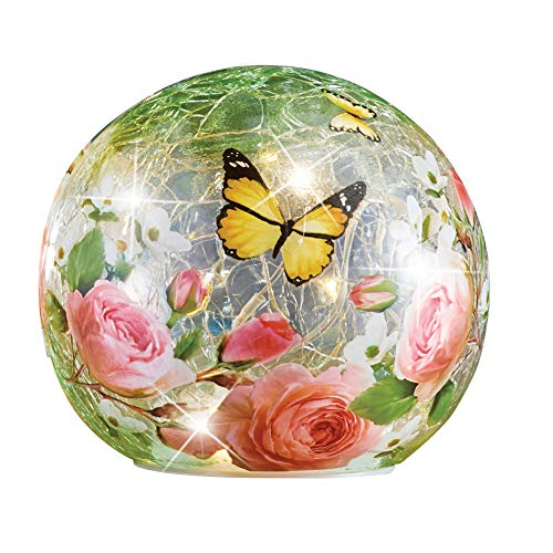 Collections Etc Rose Garden with Butterflies Crackle Glass Lighted Ball - Home Décor for Any Room, Large