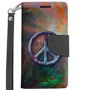 LG Leon Wallet Case - Peace on Nebula Green Orange