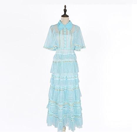 FXFAN Vestido de Las señoras Vestido de Encaje Azul Claro ...