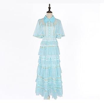 FXFAN Vestido de Las Señoras Vestido de Encaje Azul Claro Perspectiva Falda Larga Torta Falda Vestido
