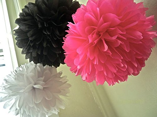 10-inch 12pcs Mixed Rose Red Black White Tissue Paper Pom Poms Barbie Birthday Barbie Decorations Barbie Party Tissue Paper