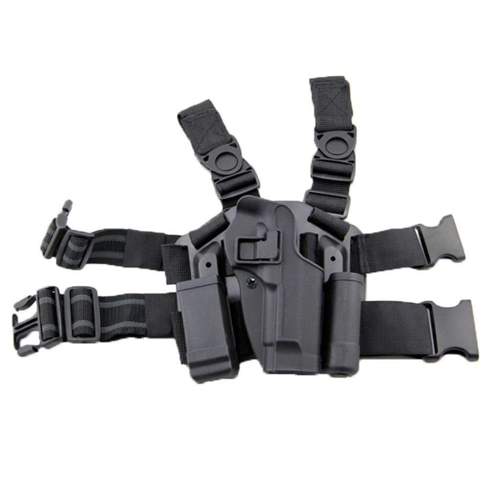 LIVIQILY Tactical Glock Leg Holster Right Hand Paddle Thigh Belt Drop Pistol Gun Holster w/Magazine Torch Pouch Glock 17 19 22 23 31 32 (Black) by LIVIQILY