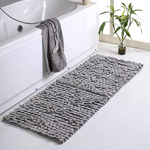1 Piece Modern Thick Loop Oversize Cotton Chenille Bath Rug, Contemporary Style Non Skid Latex Rectangle Solid Color Silver Gray Bathroom Rug, Absorbent Double Sink Vanities Extra Long Rug 24 x 60