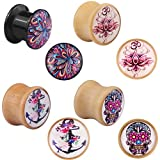Bigbabybig Body Piercing Jewelry for Men Women Ear Plugs Tunnels 9/16 Gauges Sea Shell Rainbow Color Earrings