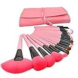 Set De 24 Brochas Profesionales De Maquillaje Pelo De Cabra Color aleatorios rosa - negro