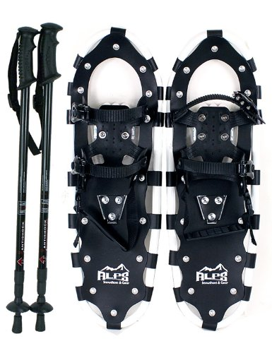Alps All Terrian Snowshoes 25' + pair antishock adjustable snowshoeing pole (black) + free carrying tote bag