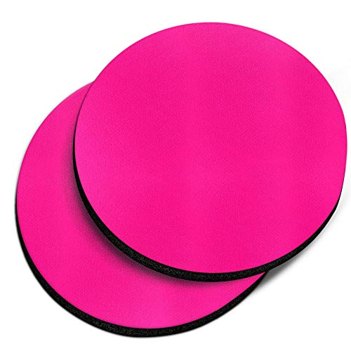 CARIBOU Coasters, Solid Hot Pink Design Absorbent ROUND Fabric Felt Neoprene Car Coasters for Drinks, 2pcs Set ()