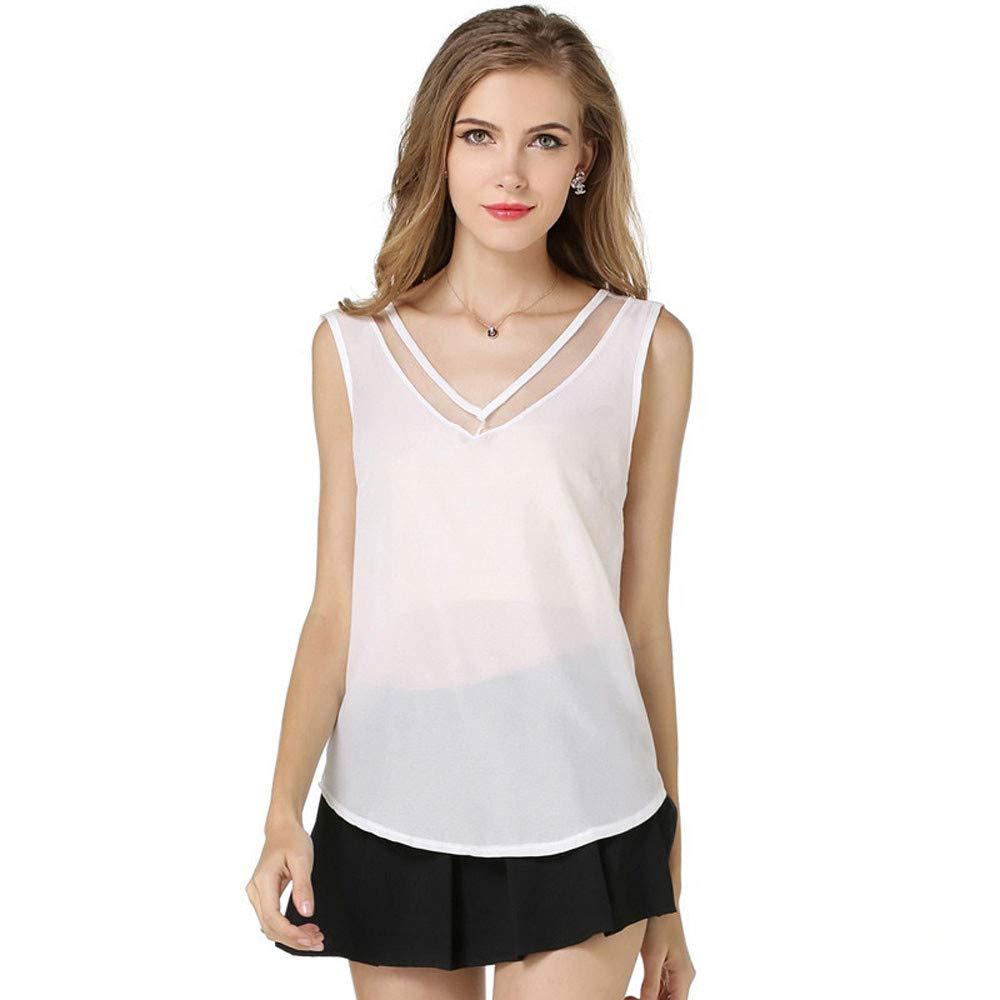 iLUGU Sexy Women Summer Sleeveless Vest V Neck Loose Chiffon Tanks Cami T Shirt Top Blouse White