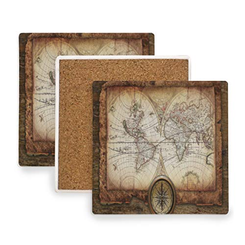 (Large Square Drink Coasters,Antique Map Compass Ceramic Thirsty Stone With Cork Back Cup mats Protect Your Furniture From Spills, Scratches,Water Rings and Damage 2pcs)