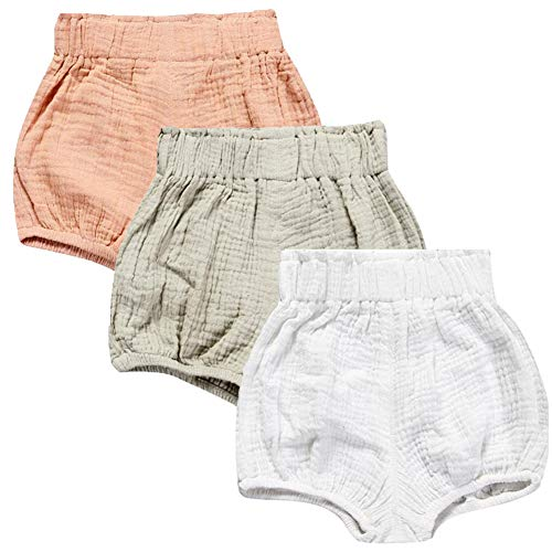 LOOLY Unisex Baby Girls Boys 3 Pack Cotton Linen Blend Bloomer Shorts (90 (1-2T), Pink, Color, White)