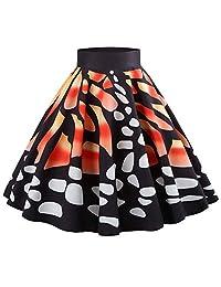 Tenworld D Women's Vintage Flare Pleated Umbrella Skirt High Waist A-Line Midi Dress