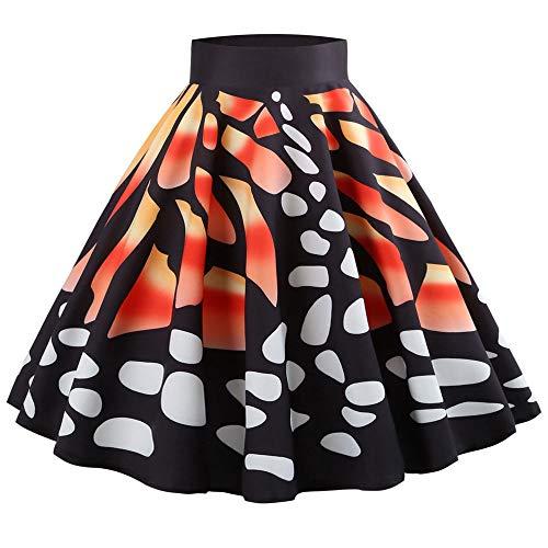 Casual Mini de Midi B Reaso Femme Jupe Impression Orange Elegant Rtro Papillon Fte Swing Jupe Jupe Jupe Jupes Soiree SBqB0w