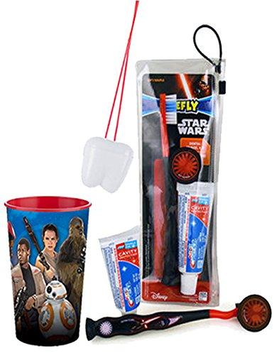 "Price comparison product image Star Wars ""The Force Awakens"" Bright Smile 4pc Oral Hygiene Set! Star Wars EP7 Manual Toothbrush Set & Mouthwash Rinse Cup! Plus Bonus Tooth Saver Visual Aid!"