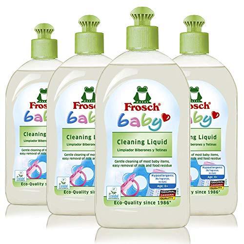 Frosch Baby Natural Liquid Dish Soap, Vegan Hand Dishwashing Detergent, Sensitive, 16.9 oz (Pack of 4)