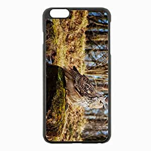 iPhone 6 Plus Black Hardshell Case 5.5inch - owl predator grass moss stones Desin Images Protector Back Cover