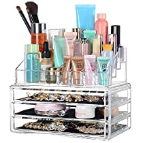 SortWise ® [DIY Buildable - L] Detachable 3 Drawers Acrylic Cosmetic Makeup Cosmetics Organizer Clear Storage Container Box Case Multipurpose / 9.4 X7.5, 2 pieces set (19 Grids / Compartments Sections, Transparent)