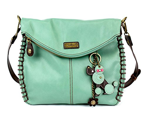 Shoulder or Chala Crossbody and Handbag Top With Poodle Charming Teal Flap Bag Zipper RvqTvw