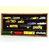 O Scale Train Display Case Cabinet Wall Rack w/ UV Protection- Lockable - Walnut