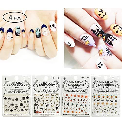 Halloween Nail water Decals - 4 sheet Halloween Water Slide Tattoo Nail Art Decal Sets. halloween decoration nail art stickers -