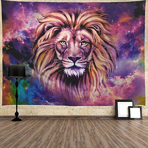 Ameyahud Lion Tapestry Starry Sky Lion Tapestries Hippie Bohemian Animal Wall Hanging Tapestry Galaxy Vivid 3D Print African Lion Wall Tapestry for Living Room Bedroom XL 70.8 92.5 , Starry Lion