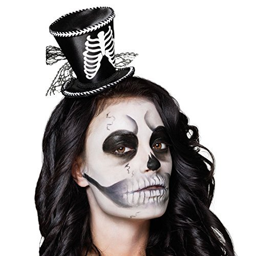 [Adults Kids Mini Tiara Top Hat Rib Cage Skeleton Voodoo style Facilier Halloween Headpiece Fascinator with Lace Ribbon by Fancy Dress] (Skeleton Rib Cage Costume)