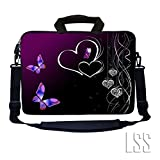 "LSS 15.6 inch Laptop Sleeve Bag Notebook with Extra Side Pocket, Soft Carrying Handle & Removable Shoulder Strap for 14"" 15"" 15.4"" 15.6"" Apple MacBook Air, GW, Acer, Aspire Asus, Dell, HP, Sony, Toshiba, Samsung - Butterfly Heart Floral"