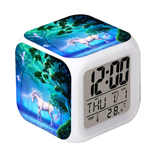 lock Unicorn Design Creative Desk Table Clock Glowing Electronic Colourful Digital Alarm Clock for Unisex Adults Kids Toy Birthday Present ()