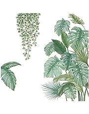 4 Stukken Diy Grote Muursticker Groene Plant, Palmboom Blad Muur Sticker, Geschikt voor Slaapkamer, Woonkamer, Eetkamer, Tv-Achtergrondmuur, Gang, Kantoor, Winkel, Etc