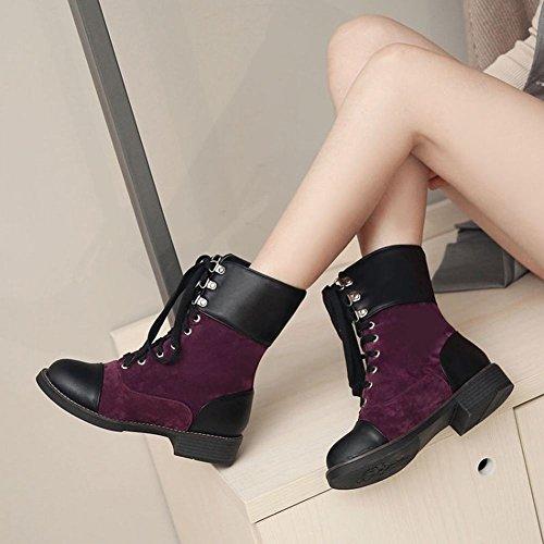 Mee Shoes Damen Niedrig mit Schnürsenkel Kurzstiefel Lila