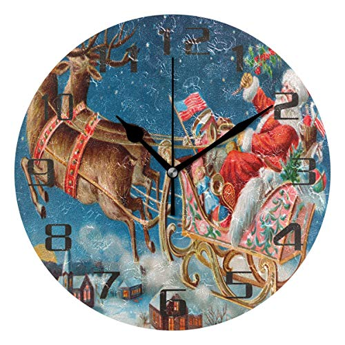 amazon com kuwt christmas santa reindeer sleigh wall clock silent