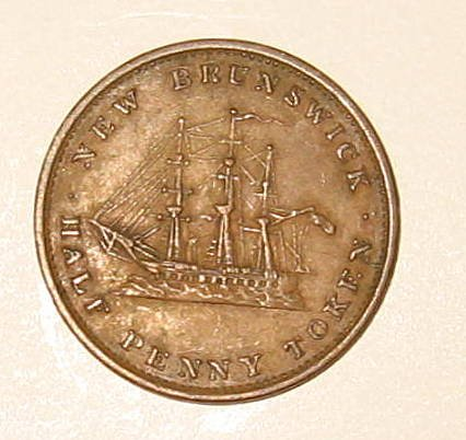 Rare Canada 1843 New Brunswick 1/2 Half Penny Regal Token Coin Clipper Ship Extra Fine XF