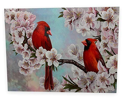 BANBERRY DESIGNS Bird Pictures - Cardinal Pair in Cherry Blossoms - Spring Cardinals LED Lighted Canvas Print - Bird Collection