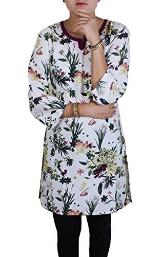 Para mujer india superior túnica de cuello en V manga corta de la camiseta ocasional de la blusa camiseta
